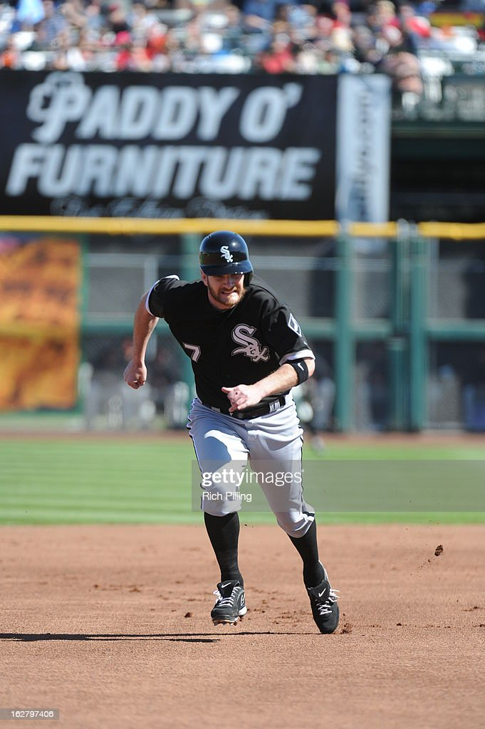 Jeff Keppinger #7 of the Chicago White Sox runs during the game against the San Francisco Giants on Monday, February 25, 2013 at Scottsdale Stadium in Scottsdale, Arizona. The Giants and White Sox played to a 9-9 tie.