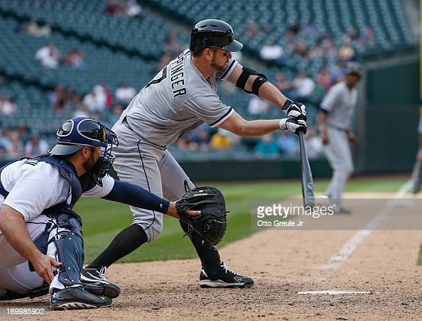 Jeff Keppinger of the Chicago White Sox strikes out with the bases loaded to end the top of the fifteenth inning against the Seattle Mariners at...
