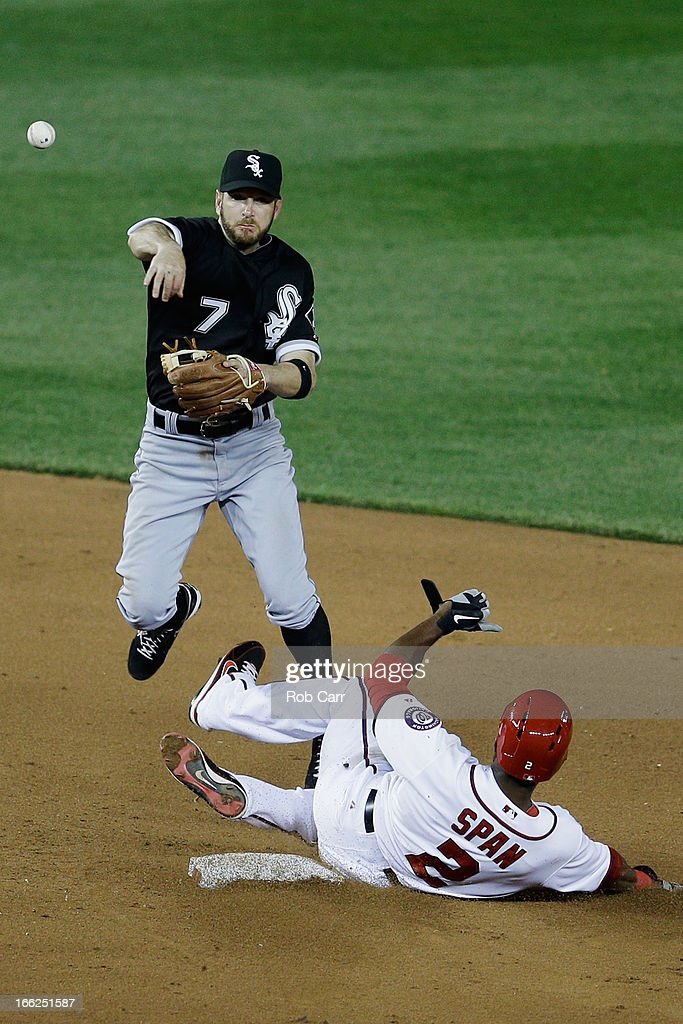 <a gi-track='captionPersonalityLinkClicked' href=/galleries/search?phrase=Jeff+Keppinger&family=editorial&specificpeople=835796 ng-click='$event.stopPropagation()'>Jeff Keppinger</a> #7 of the Chicago White Sox throws to first base to complete a double play after forcing out <a gi-track='captionPersonalityLinkClicked' href=/galleries/search?phrase=Denard+Span&family=editorial&specificpeople=835844 ng-click='$event.stopPropagation()'>Denard Span</a> #2 of the Washington Nationals during the sixth inning at Nationals Park on April 10, 2013 in Washington, DC.
