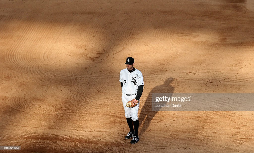 <a gi-track='captionPersonalityLinkClicked' href=/galleries/search?phrase=Jeff+Keppinger&family=editorial&specificpeople=835796 ng-click='$event.stopPropagation()'>Jeff Keppinger</a> #7 of the Chicago White Sox waits for a pitch against the Kansas City Royals during the Opening Day game at U.S. Cellular Field on April 1, 2013 in Chicago, Illinois. The White Sox defeated the Royals 1-0.