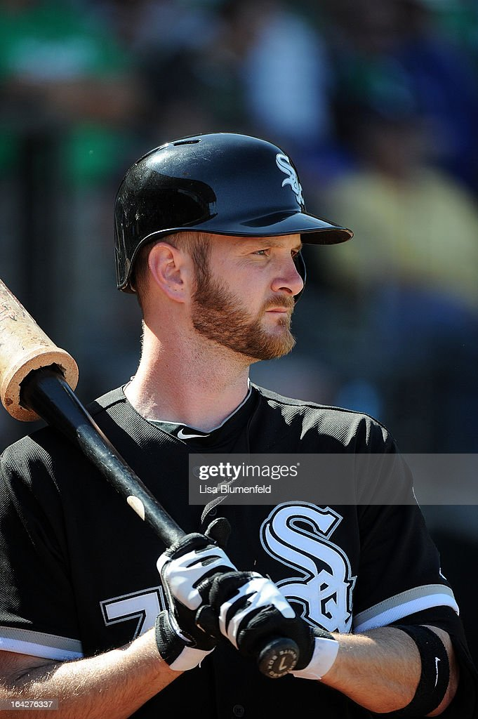 <a gi-track='captionPersonalityLinkClicked' href=/galleries/search?phrase=Jeff+Keppinger&family=editorial&specificpeople=835796 ng-click='$event.stopPropagation()'>Jeff Keppinger</a> #7 of the Chicago White Sox waits on deck during the game against the Kansas City Royals at Surprise Stadium on March 17, 2013 in Surprise, Arizona.