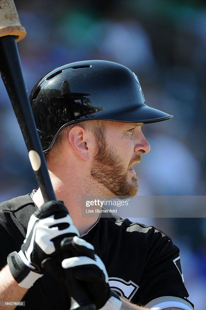 Jeff Keppinger #7 of the Chicago White Sox waits on deck during the game against the Kansas City Royals at Surprise Stadium on March 17, 2013 in Surprise, Arizona.