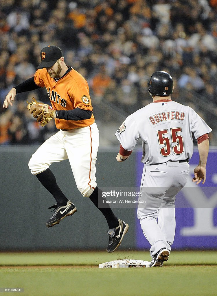 <a gi-track='captionPersonalityLinkClicked' href=/galleries/search?phrase=Jeff+Keppinger&family=editorial&specificpeople=835796 ng-click='$event.stopPropagation()'>Jeff Keppinger</a> #8 of the San Francisco Giants gets the force out at second base on <a gi-track='captionPersonalityLinkClicked' href=/galleries/search?phrase=Humberto+Quintero&family=editorial&specificpeople=226980 ng-click='$event.stopPropagation()'>Humberto Quintero</a> #55 of the Houston Astros in the seventh inning during an MLB baseball game August 26, 2011 at AT&T Park in San Francisco, California.