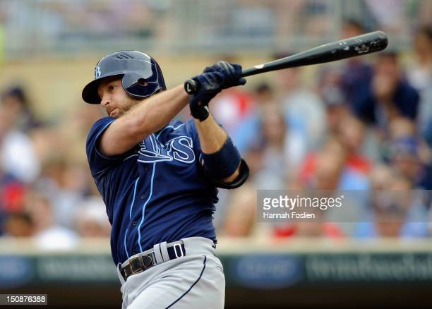 Jeff Keppinger of the Tampa Bay Rays bats against the Minnesota Twins on August 11 2012 at Target Field in Minneapolis Minnesota
