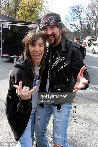 Jeff Kieth of Tesla and Ron Keel of Keel backstage during the 2014 M3 Rock Festival at Merriweather Post Pavillion on April 26 2014 in Columbia...