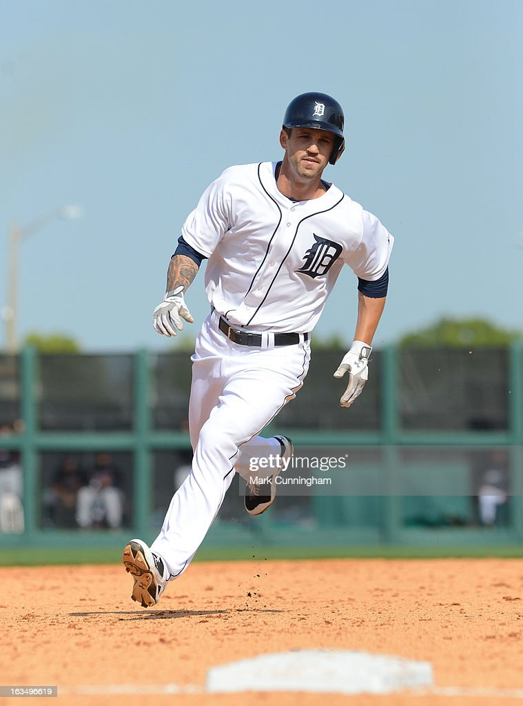 Jeff Kobernus #46 of the Detroit Tigers runs the bases during the spring training game against the Atlanta Braves at Joker Marchant Stadium on February 27, 2013 in Lakeland, Florida. The Braves defeated the Tigers 5-3.