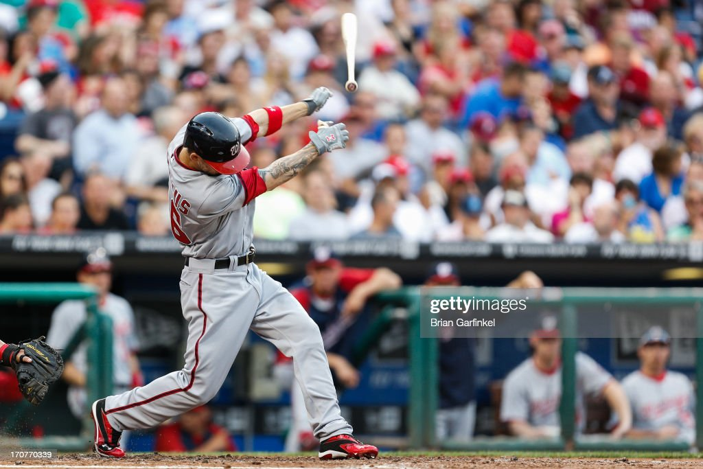 Jeff Kobernus #26 of the Washington Nationals loses the grip on his bat in the second inning of the game against the Philadelphia Phillies at Citizens Bank Park on June 17, 2013 in Philadelphia, Pennsylvania.