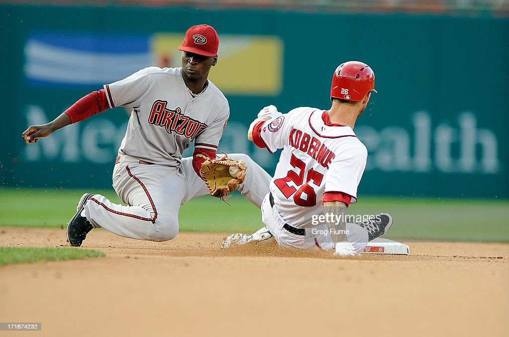Jeff Kobernus #26 of the Washington Nationals steals second base in the seventh inning ahead of the tag of <a gi-track='captionPersonalityLinkClicked' href=/galleries/search?phrase=Didi+Gregorius&family=editorial&specificpeople=8945889 ng-click='$event.stopPropagation()'>Didi Gregorius</a> #1 of the Arizona Diamondbacks at Nationals Park on June 27, 2013 in Washington, DC.