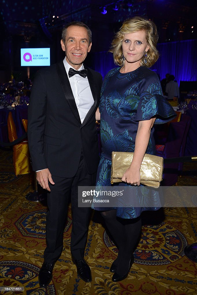 <a gi-track='captionPersonalityLinkClicked' href=/galleries/search?phrase=Jeff+Koons&family=editorial&specificpeople=220233 ng-click='$event.stopPropagation()'>Jeff Koons</a> (L) and Justine Wheeler Koons attend the Elton John AIDS Foundation's 12th Annual An Enduring Vision Benefit at Cipriani Wall Street on October 15, 2013 in New York City.