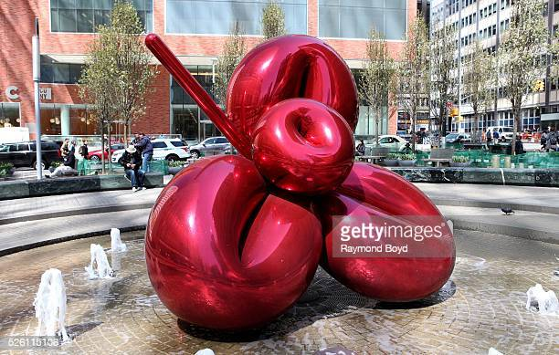 Jeff Koons' 'Balloon Flower ' sculpture sits outside Seven World Trade Center in New York New York on April 14 2016