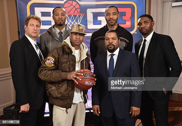 Jeff Kwatinetz Rashard Lewis Allen Iverson Ice Cube Kenyon Martin and Roger Mason Jr attend a press conference announcing the launch of the BIG3 a...