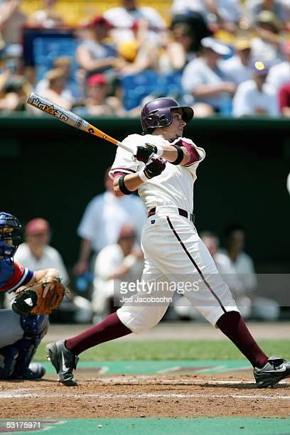 Jeff Larish of the Arizona Sun Devils bats during game 11 of the 59th College World Series with the Florida Gators at Rosenblatt Stadium on June 22...