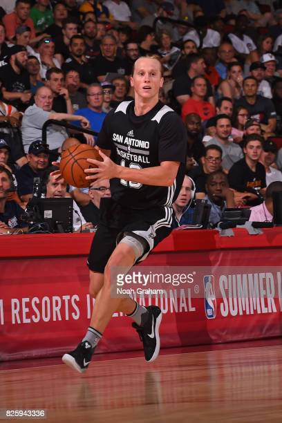 Jeff Ledbetter of the San Antonio Spurs dribbles the ball during the 2017 Las Vegas Summer League game against the Portland Trail Blazers on July 11...