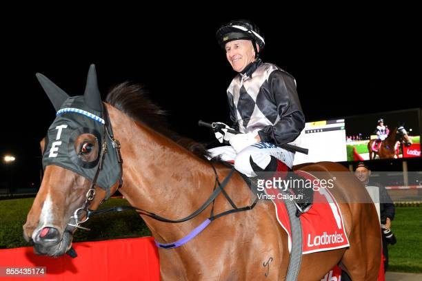 Jeff Lloyd riding Houtzen after winning Race 3 Scarborough Stakes during Melbourne Racing at Moonee Valley Racecourse on September 29 2017 in...