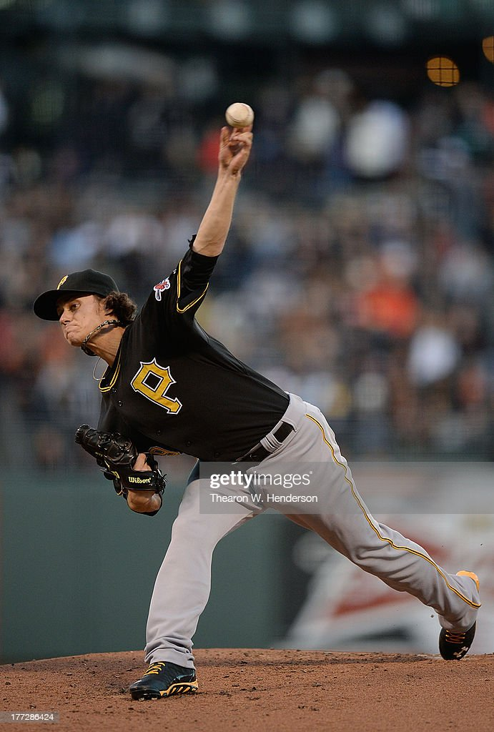Jeff Locke #49 of the Pittsburgh Pirates pitches against the San Francisco Giants at AT&T Park on August 22, 2013 in San Francisco, California.