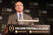 Jeff Long answers questions from the media after being named the chairman of the College Football Playoff selection committee on October 16 2013 in...