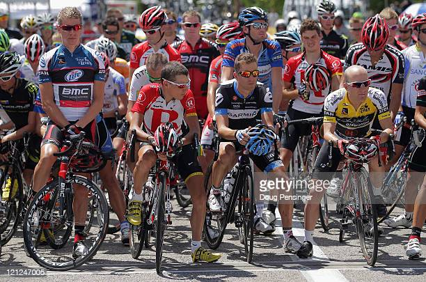 Jeff Louder of the USA riding for BMC Racing Janez Brajkovic of Slovenia riding for Team Radioshack Christian Vande Velde of the USA riding for Team...