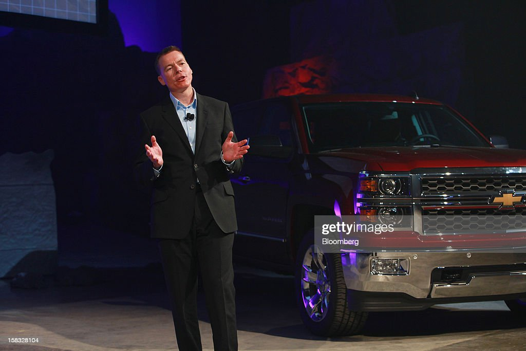 Jeff Luke, executive chief engineer for full-size and mid-size trucks of General Motors Co. (GM), speaks during the unveiling of the 2014 Chevrolet Silverado pickup during an event in Pontiac, Michigan, U.S., on Thursday, Dec. 13, 2012. Even with the recent cloud of high existing truck inventories, the new Chevrolet Silverado and GMC Sierra pickups hold the promise of giving GM's investors, the U.S. government included, a long awaited boost. Photographer: Fabrizio Costantini/Bloomberg via Getty Images