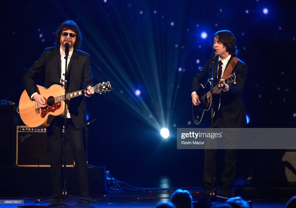 <a gi-track='captionPersonalityLinkClicked' href=/galleries/search?phrase=Jeff+Lynne&family=editorial&specificpeople=1573357 ng-click='$event.stopPropagation()'>Jeff Lynne</a> and <a gi-track='captionPersonalityLinkClicked' href=/galleries/search?phrase=Dhani+Harrison&family=editorial&specificpeople=211547 ng-click='$event.stopPropagation()'>Dhani Harrison</a> perform onstage at 'The Night That Changed America: A GRAMMY Salute To The Beatles' at Los Angeles Convention Center on January 27, 2014 in Los Angeles, California.