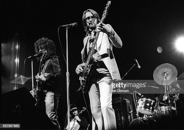 Jeff Lynne and Kelly Groucutt of Electric Light Orchestra performing on stage Rainbow Theatre London United Kingdom 1973