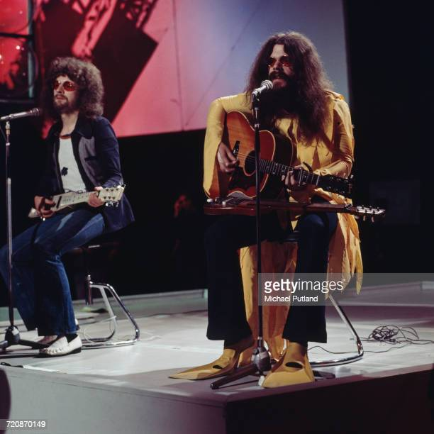 Jeff Lynne and Roy Wood of English rock group Electric Light Orchestra perform on BBC Television's Top Of The Pops in London in 1972