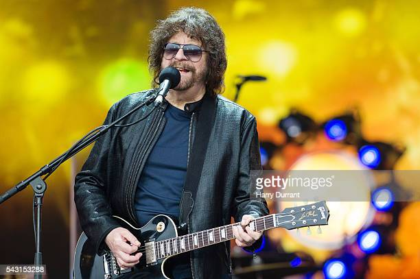 Jeff Lynne from ELO performs on The Pyramid Stage Glastonbury Festival 2016 at Worthy Farm Pilton on June 26 2016 in Glastonbury England