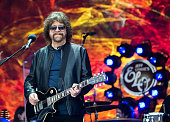 Jeff Lynne of ELO performs on the Pyramid Stage at Glastonbury Festival 2016 at Worthy Farm Pilton on June 26 2016 in Glastonbury England