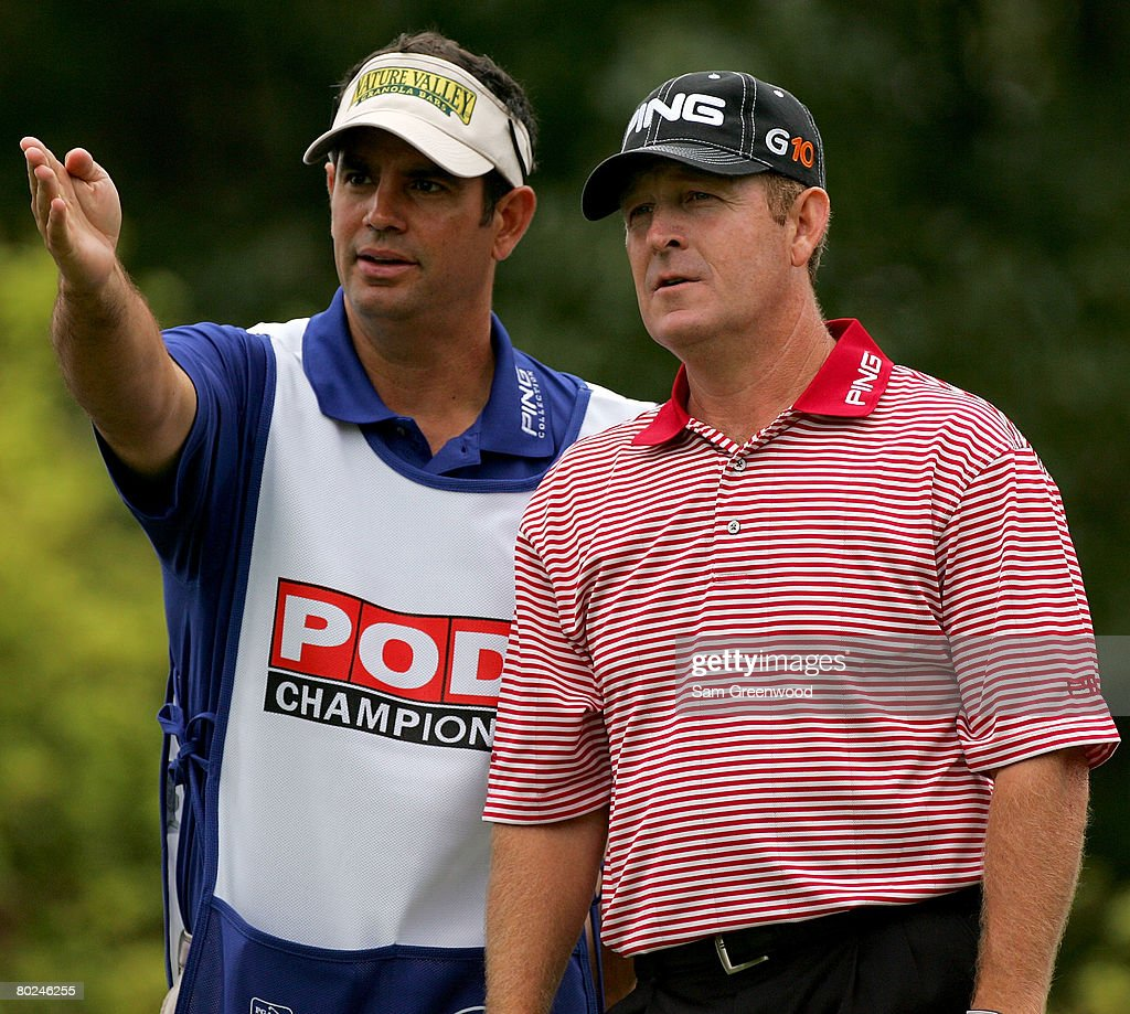 Jeff Maggert and caddie Mark Miller discuss strategy on the 6th hole during the second round of the PODS Championship at Innisbrook Resort and Golf Club on March 7, 2008 in Palm Harbor, Florida.