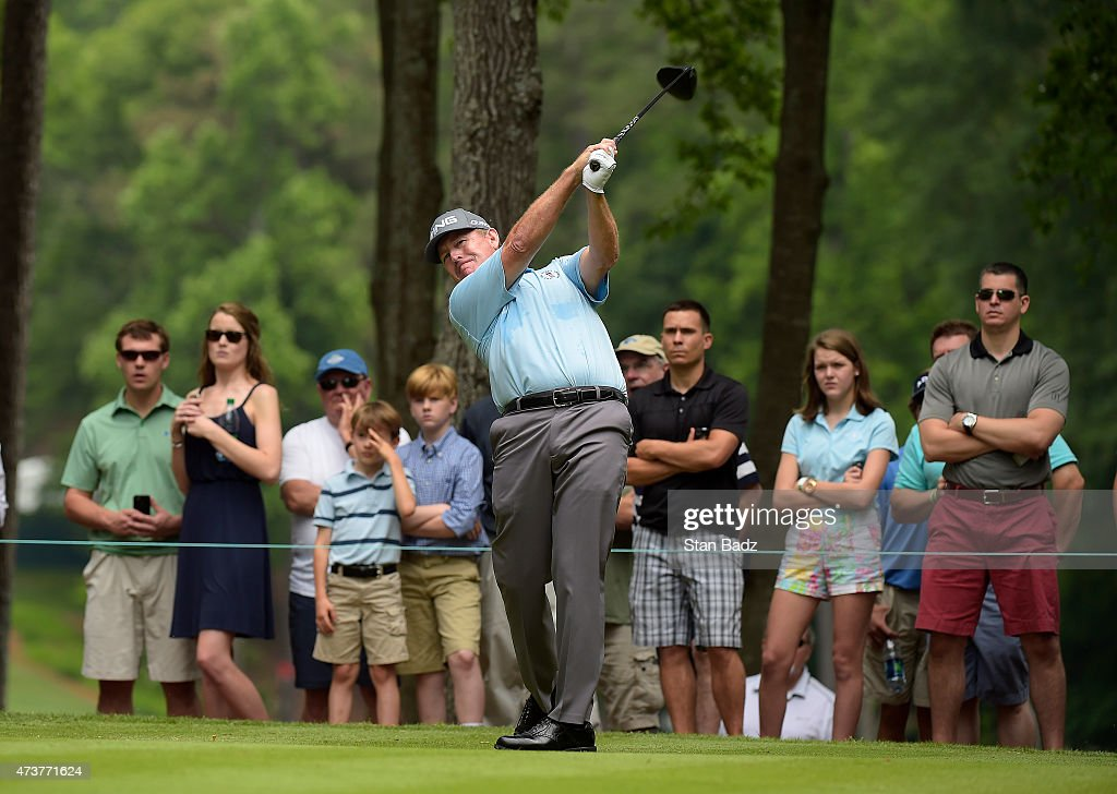 Jeff Maggert hits a drive on the third hole during the final round of the Champions Tour Regions Tradition at Shoal Creek on May 17 2015 in Shoal...