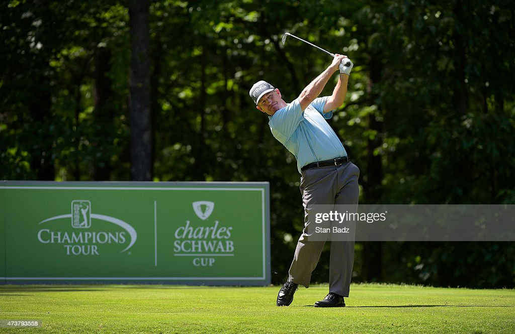 Jeff Maggert hits a tee shot on the 16th hole during the final round of the Champions Tour Regions Tradition at Shoal Creek on May 17 2015 in Shoal...