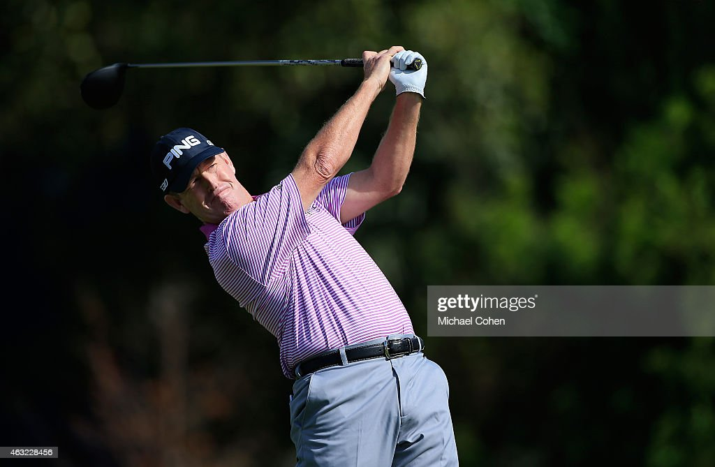 Jeff Maggert hits his drive on the 11th hole during the second round of the Allianz Championship held at The Old Course at Broken Sound on February 7...