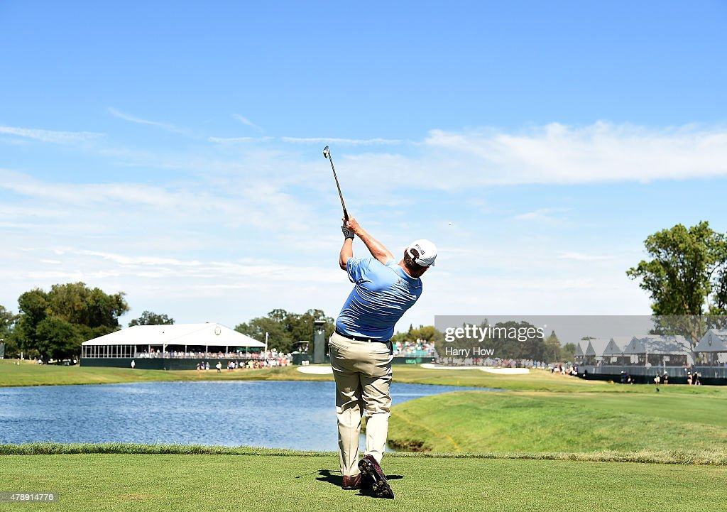 Jeff Maggert of the United States hits a tee shot on the 17th hole during round four of the US Senior Open Championship at the Del Paso Country Club...