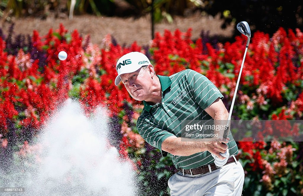 Jeff Maggert of the United States plays a bunker shot on the fourteen hole during the second round of THE PLAYERS Championship on The Stadium Course...