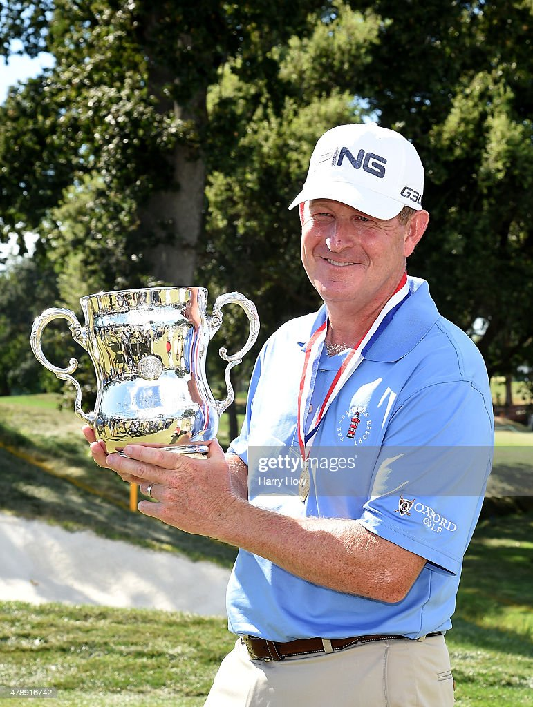 Jeff Maggert of the United States poses with the trophy after round four of the US Senior Open Championship at the Del Paso Country Club on June 28...