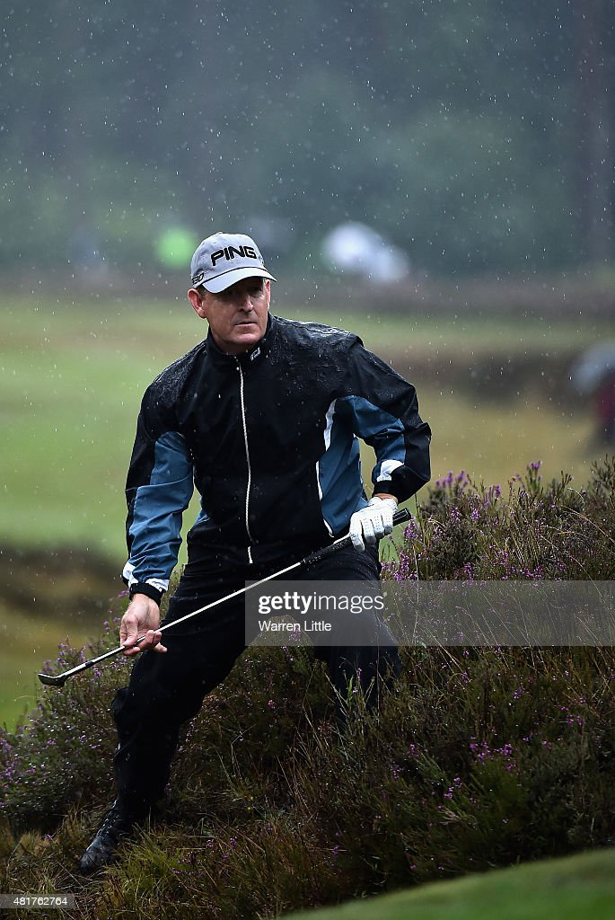 Jeff Maggert of the USA plays out of the heather by the 12th green during the second round of The Senior Open Championship on the Old Course at...