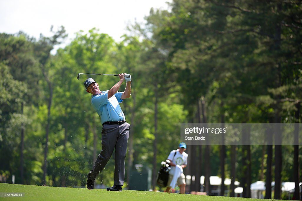 Jeff Maggert plays a shot on the 15th hole during the final round of the Champions Tour Regions Tradition at Shoal Creek on May 17 2015 in Shoal...