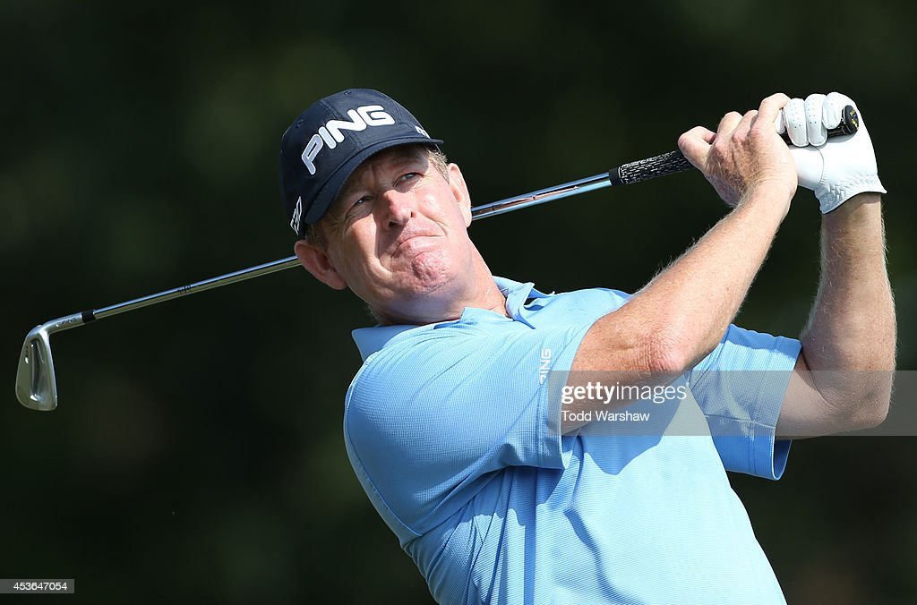 Jeff Maggert plays his tee shot on the 16th hole during the second round of the Wyndham Championship at Sedgefield Country Club on August 15 2014 in...