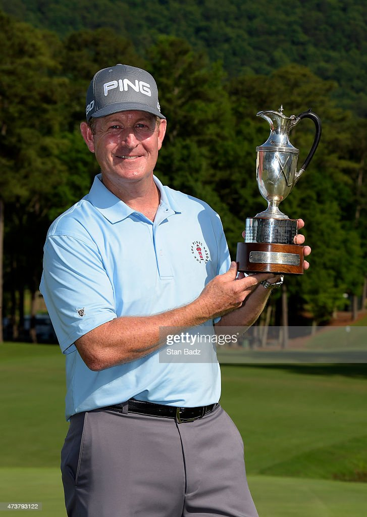 Jeff Maggert poses with the winner's trophy after the final round of the Champions Tour Regions Tradition at Shoal Creek on May 17 2015 in Shoal...