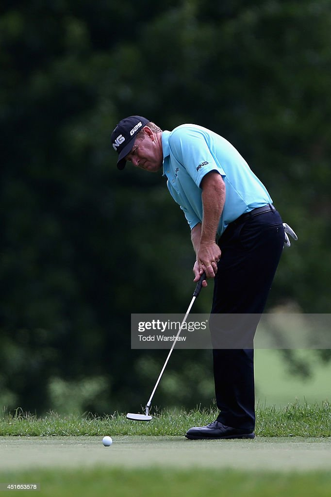 <a gi-track='captionPersonalityLinkClicked' href=/galleries/search?phrase=Jeff+Maggert&family=editorial&specificpeople=206836 ng-click='$event.stopPropagation()'>Jeff Maggert</a> puts on the sixth green during the first round of the Greenbrier Classic at the Old White TPC on July 3, 2014 in White Sulphur Springs, West Virginia.