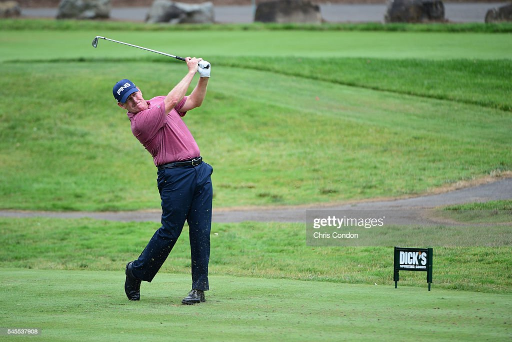 Jeff Maggert tees off on the 4th hole during the first round of the PGA TOUR Champions DICK'S Sporting Goods Open at EnJoie Golf Course on July 8...