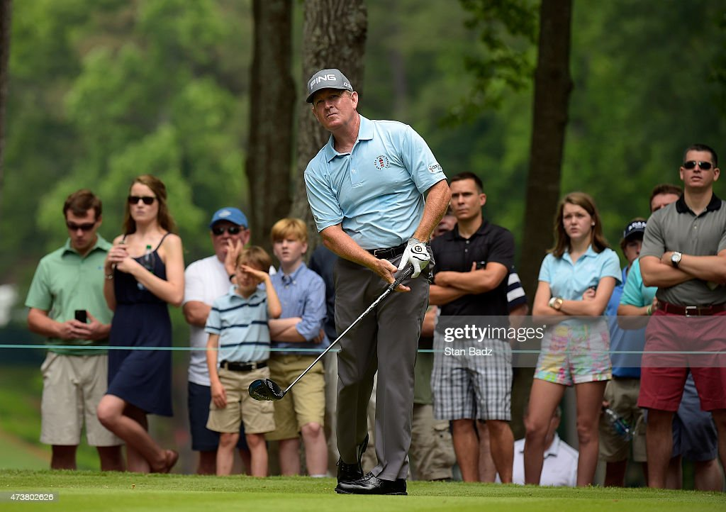 Jeff Maggert watches his drive on the third hole during the final round of the Champions Tour Regions Tradition at Shoal Creek on May 17 2015 in...