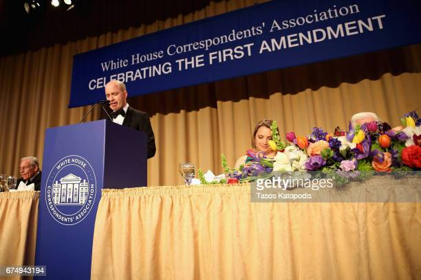 Jeff Mason speaks on stage during the 2017 White House Correspondents' Association Dinner at Washington Hilton on April 29 2017 in Washington DC