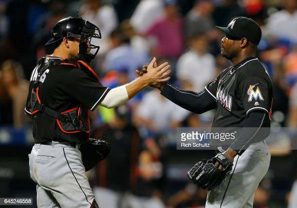 Jeff Mathis and Fernando Rodney of the Miami Marlins celebrate their 64 win over the New York Mets during a game at Citi Field on September 1 2016 in...