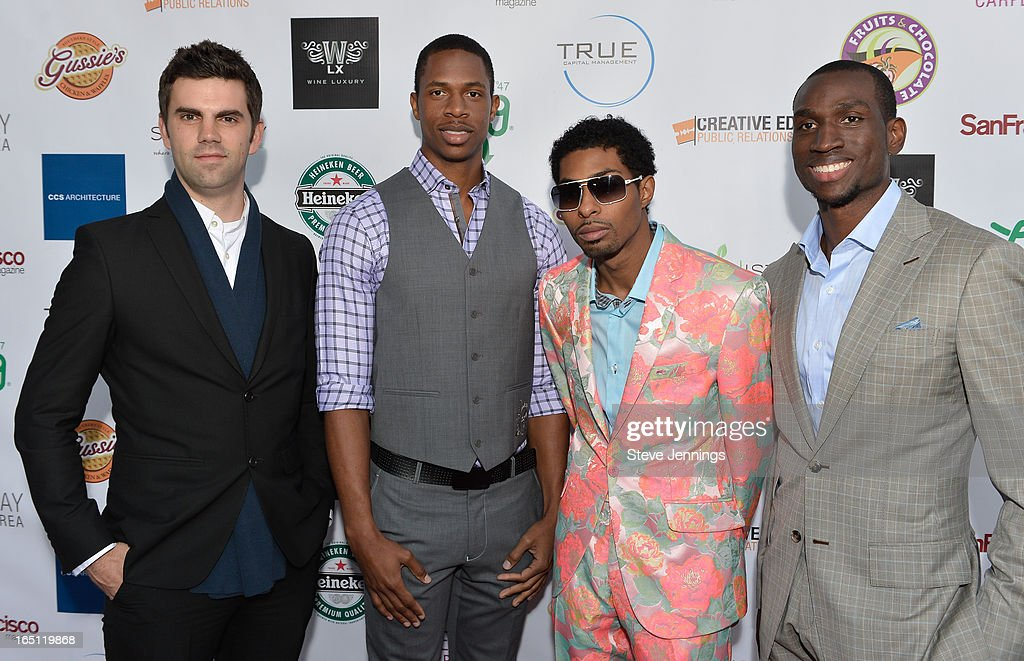 Jeff McMurtry and Patrick Carter with designer and Tim Carter (L-R) attend the 6th Annual 'Where Hip Hop Meets Couture' Fashion Show at Dog Patch Wine Works on March 30, 2013 in San Francisco, California.