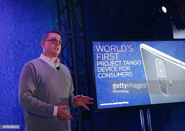 Jeff Meredith general manager and vice president of the tablet business unit at Lenovo Group Ltd speaks about Project Tango during an event at the...