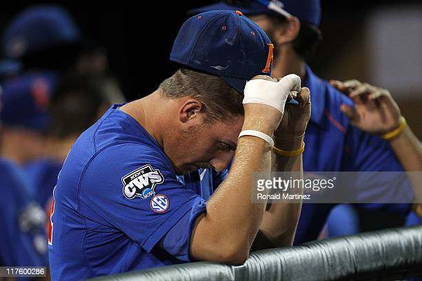 Jeff Moyer of the Florida Gators reacts after losing 52 against the South Carolina Gamecocks during game 2 of the men's 2011 NCAA College Baseball...