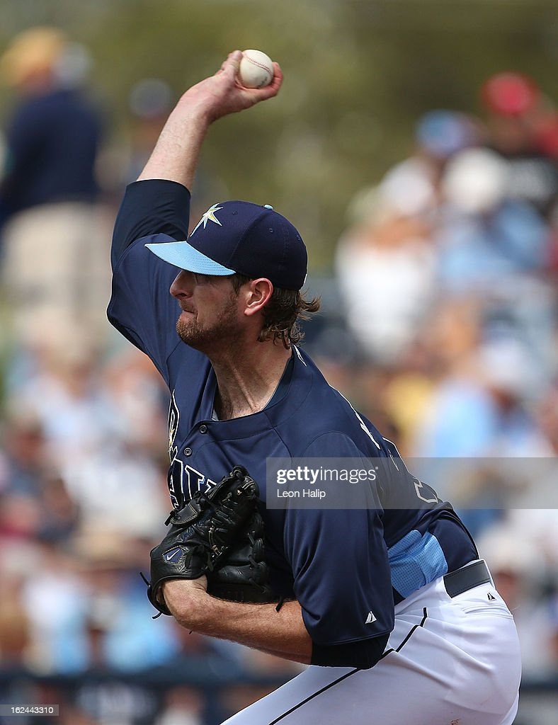 <a gi-track='captionPersonalityLinkClicked' href=/galleries/search?phrase=Jeff+Niemann&family=editorial&specificpeople=810707 ng-click='$event.stopPropagation()'>Jeff Niemann</a> #34 of the Tampa Bay Rays pitches during the Spring Training game against Pittsburgh Pirates on February 23, 2013 in Port Charlotte, Florida. The Pirates defeated the Rays 3-2.