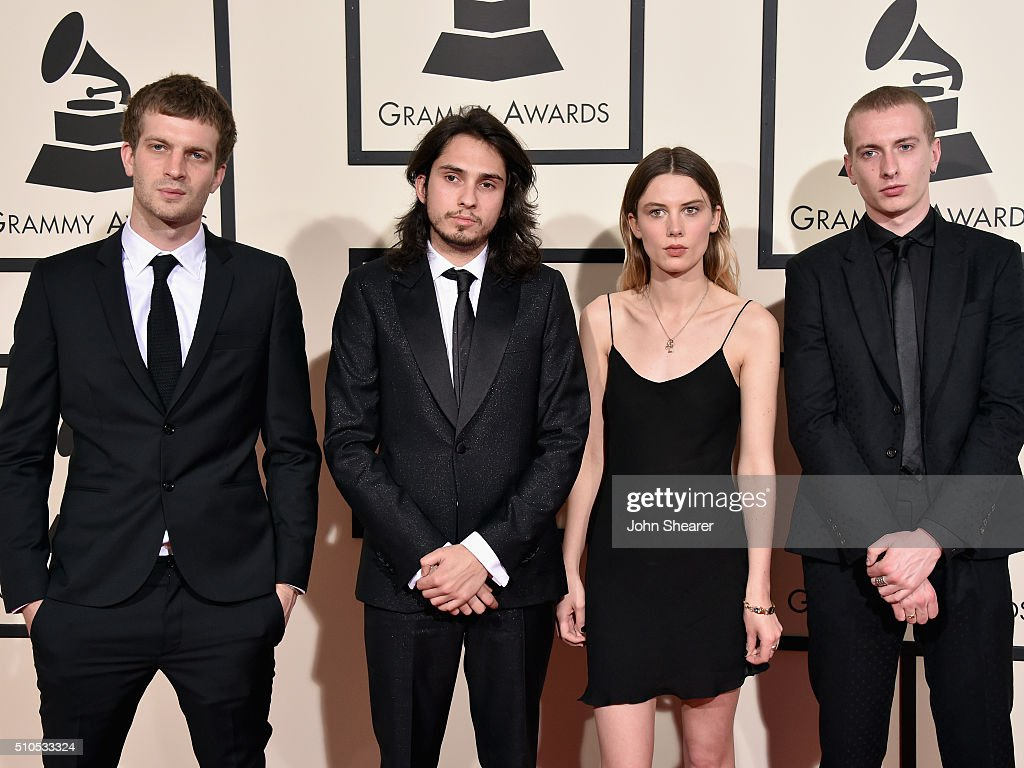 Jeff Oddie, Joel Amey, Ellie Rowsell and Theo Ellis of Wolf Alice attend The 58th GRAMMY Awards at Staples Center on February 15, 2016 in Los Angeles, California.