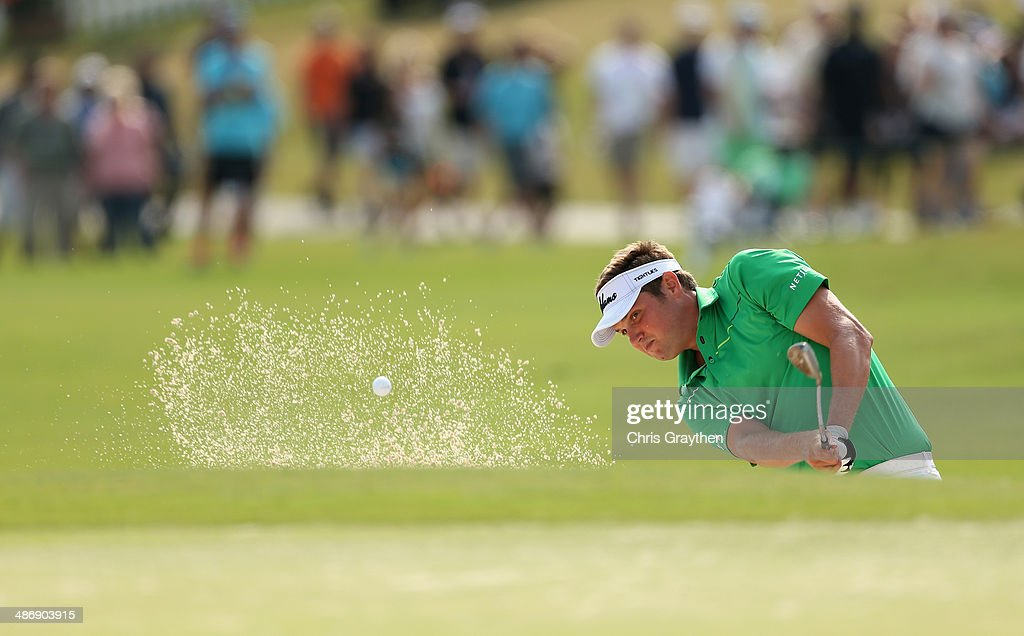 Jeff Overton chips out of the 18th bunker during Round Three of the Zurich Classic of New Orleans at TPC Louisiana on April 26 2014 in Avondale...