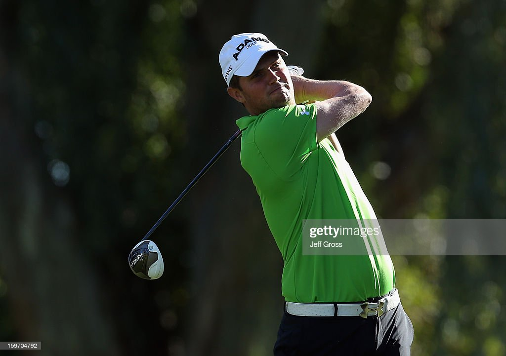 Jeff Overton hits a tee shot on the 13th hole during the second round of the Humana Challenge In Partnership With The Clinton Foundation at La Quinta Country Club on January 18, 2013 in La Quinta, California.